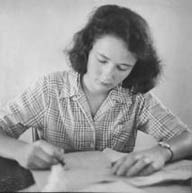 Jackie at writing desk, age 17